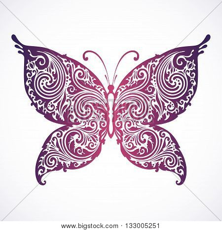 Vector illustration abstract ornamental butterfly. Decorative butterfly.