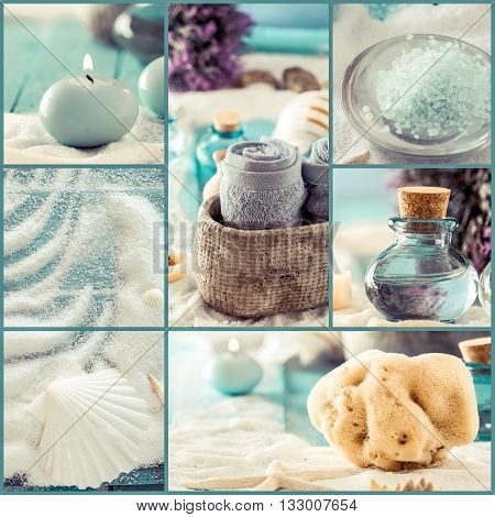 Spa collage series. Spa collage made of five images. Floral water bath salt candles and towel. Dayspa image