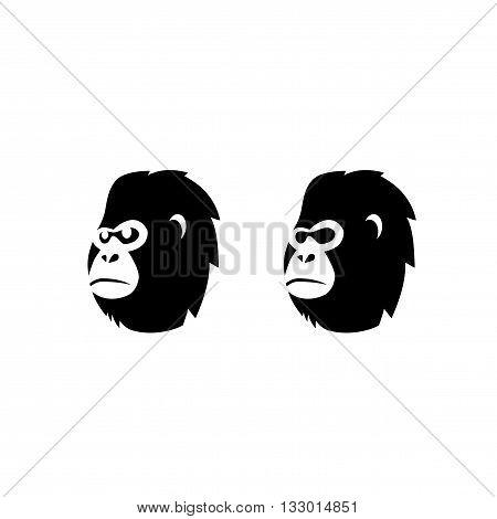 Gorilla Monkey Head Vector Logo Template Illustration