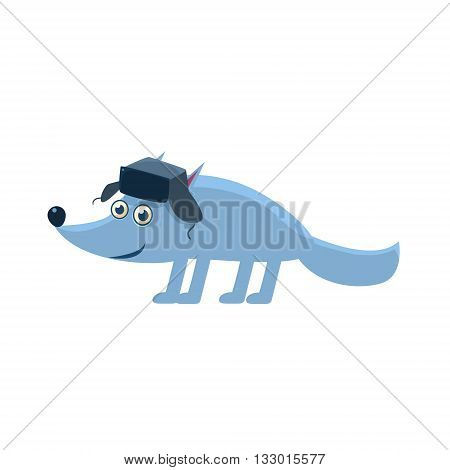 Wolf Wearing Hat With Ear Flaps Illustration. Funny Childish Vector Wolf Drawing. Flat Isolated Cartoon Animal Icon.