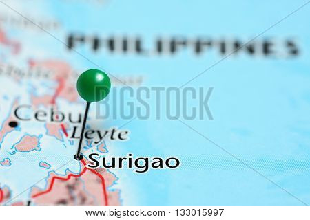 Surigao pinned on a map of Philippines