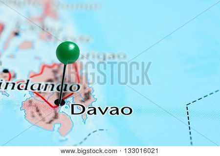 Davao pinned on a map of Philippines