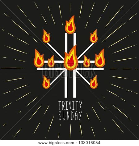 Church symbols. Christian holiday concept. Holy spirit Jesus. Church sacrament symbol. Trinity Sunday. Biblical tongues of fire cross holy spirit dove. Religious logo. Vector illustration.