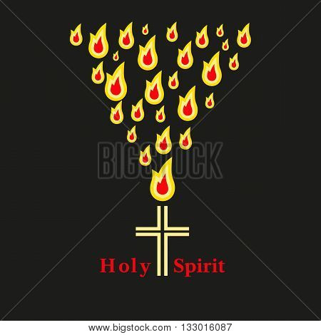 Church icon. Christian holiday concept. Holy spirit Jesus. Church sacrament symbol. Trinity Sunday. Biblical tongues of fire cross holy spirit dove. Religious logo. Vector illustration.