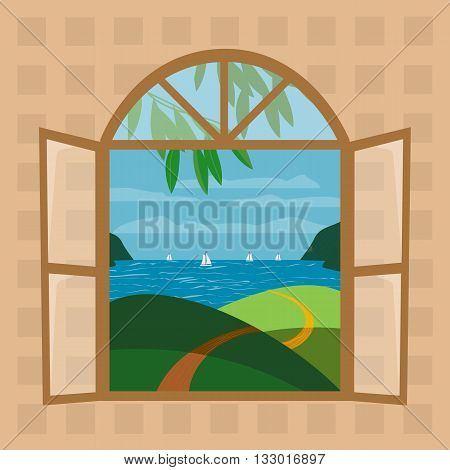 Open window. Outdoor view through window. Seascape panoramic view Concept. Window frame. Outside view through open window. Seashore hill road olive tree. Sunny day. Vector Illustration