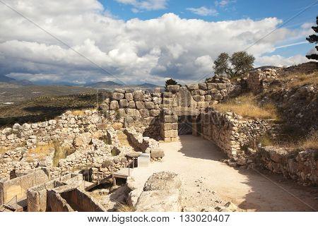 Ruins of ancient Mycenae. Greece.  Mycenae - ancient city in Argolida.