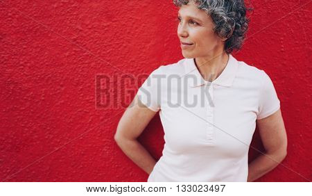 Mature Woman Looking Away At Copy Space