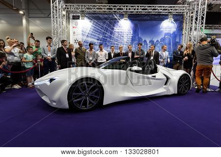 Cracow Poland - May 21 2016: 3rd Edition Of Moto Show In Krakow. Poland. The World Debut Hydrocar Pr