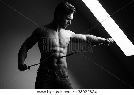 Muscular Man With Belt