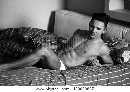 Muscular Sexy Man In Bed