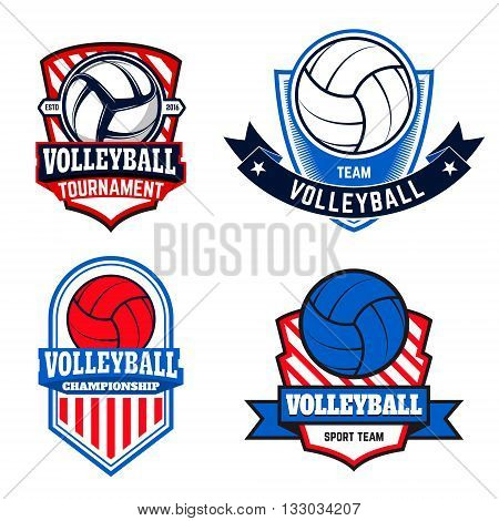 Set of volleyball labels and logos for volleyball teams tournaments championships isolated on white background. Vector illustration.