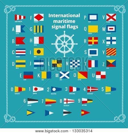 International maritime signal flags. Sea alphabet. Flat vector illustration