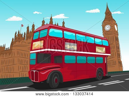 Big Ben with red double-decker bus in London, UK in the afternoon