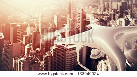 Closeup Photo White Matte Generic Design Remote Control Air Drone with action camera Flying Sky under Sunset City. Modern Megapolis Background. Wide, top side view. Motion Blur Effect. 3D rendering