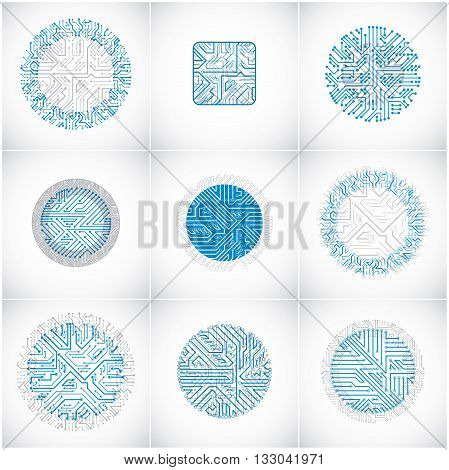 Collection of vector microchip designs cpu. Information communication technology elements with multidirectional arrows blue circuit boards in the shape of square and circle.