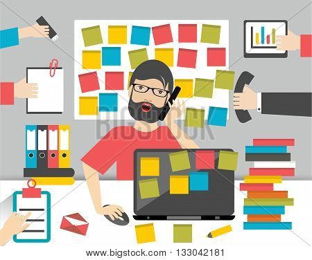 Hard working business man. Worksplace flat vector illustration.