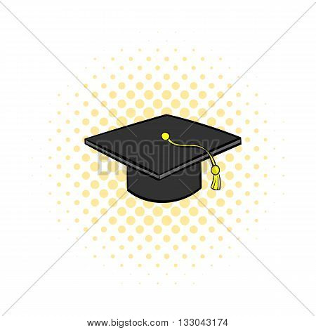 Graduation cap icon in comics style on a white background