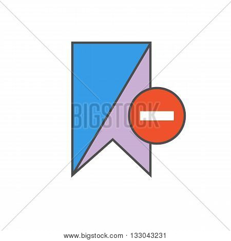 Remove bookmark vector icon. Colored line illustration of bookmark with minus sign