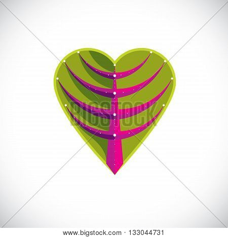 Tree leaf in the shape of heart botanical element created in modern cubism style. Care about nature and ecology theme vector illustration.