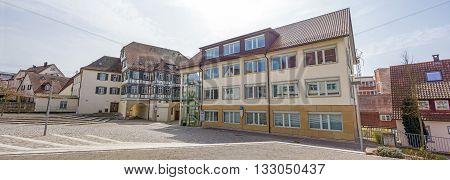 Backnang Germany - April 3 2016: City panorama of Backnang near the district court.