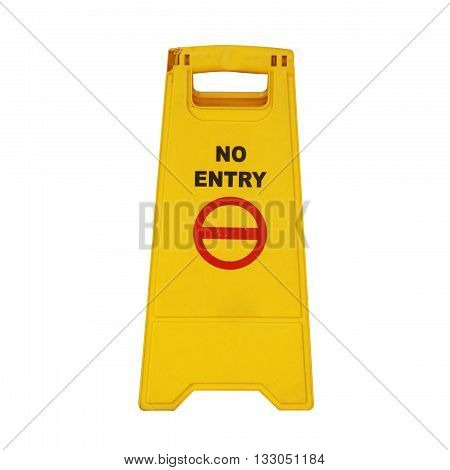The yellow No entry sign isolated on white color backgrond
