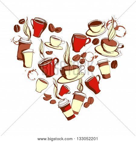 Vector illustration Grungy hand drawn heart shape ink coffee to go, cups, mugs, beans bacground pattern. Coffee cup, coffee beans, tea, coffee shop, drinking coffee, coffee mug, background pattern