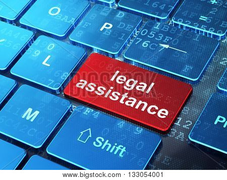 Law concept: computer keyboard with word Legal Assistance on enter button background, 3D rendering