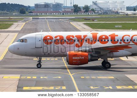 BERLIN / GERMANY - JUNE 4 2016: Airbus A 320 - 214 from easyJet on airport Schoenefeld Berlin / Germany on june 4 2016