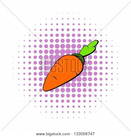 Carrot icon in comics style on a white background
