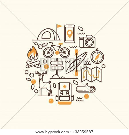 Vacation, camping, hiking, adventure, extreme sports, outdoor recreation, wilderness collection. Camping and hiking equipment. Set of line vector icons.