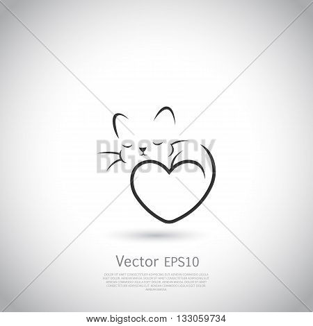Stylized silhouette of cat. Abstract logo or icon on gray backgound with place for your text.