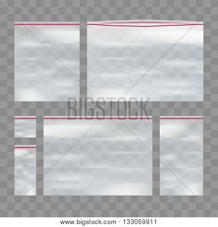 Vector Set of Empty Transparent Plastic Zip-lock Bag eps10 vector