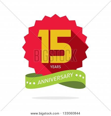 Years 15 anniversary vector label logo, shadow on circle, number 15, 15th years anniversary icon. Fifteen birthday party symbol. Fifteenth promotion sale sticker ribbon, poster, emblem