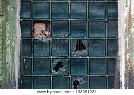 Broken stained glass window, glass window texture