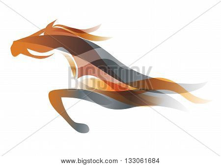 Colorful stylized illustration of running horse. Vector available.