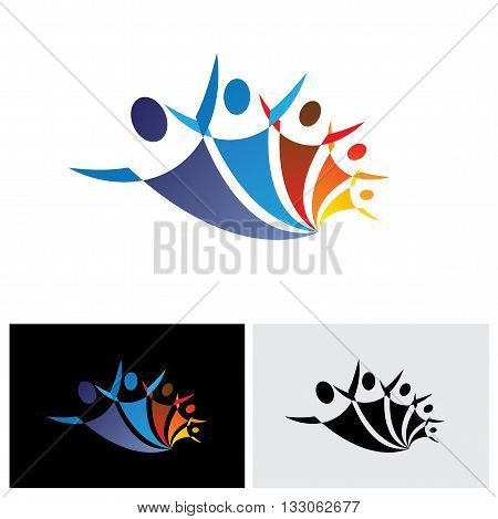 Colorful Vector Icon Of People Together Being Positive And Happy