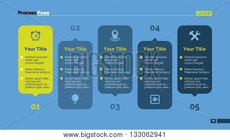 Editable template of presentation slide representing five step process chart, multicolored version