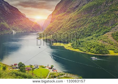 Beautiful scene of mountain and fjord, Neroy Fjord, Flam, Norway poster