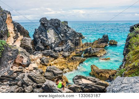 HORSESHOE BAY BERMUDA - MAY 26 - Rock formations and aqua color water are typical scenes at Horseshoe Bay on May 26 2016 in Bermuda