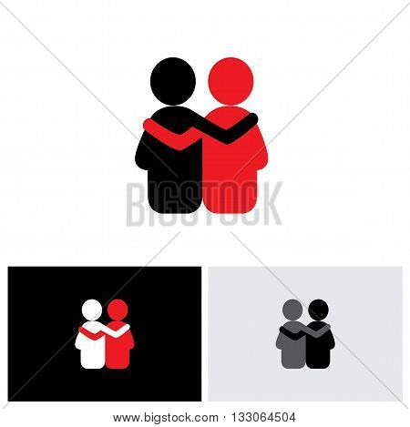Vector Logo Icon Of Friendship, Dependence, Empathy, Bonding.