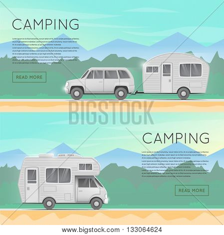 Hiking and outdoor forest camping. Camper trailer family. Summer campers trailers. Tourist campers. Summer landscape. Summer adventure. Flat design vector illustration. Banners.