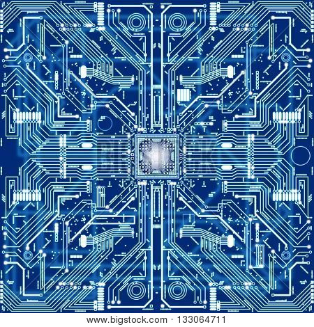 Seamless Texture Of Computer Circuit Board Or Electronic Environment