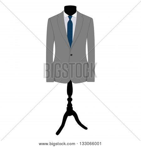 Vector illustration of grey man suit with blue tie and white shirt on mannequin. Business suit business mens suit man in suit