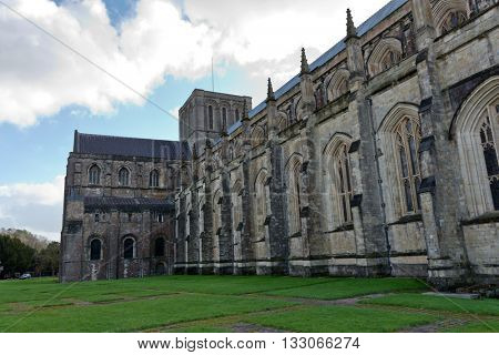 Facade of Winchester Cathedral in England, UK