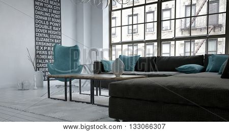 View from corner of sofa in loft apartment decorated with planter and large painting filled with American city, street and subway station names. 3d rendering.