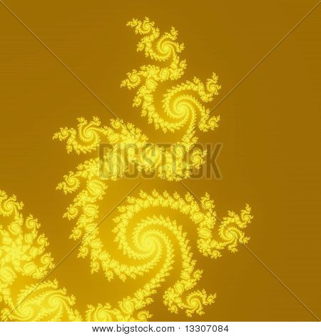 Elegant, Frilly Spirals That Come to a Point in Yellow on Sepia