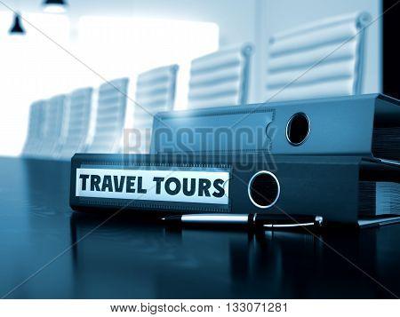 Travel Tours - Business Concept on Blurred Background. Travel Tours - File Folder on Black Desktop. Ring Binder with Inscription Travel Tours on Black Desktop. 3D Render.