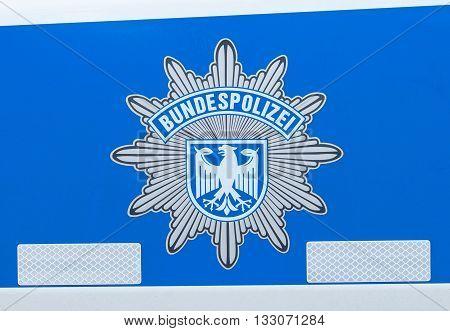 BERLIN / GERMANY - JUNE 4 2016: german bundespolizei