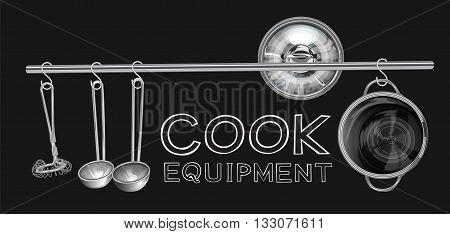 Cook Equipment on stainless still line with S shape hanging have egg whisk dipper or scoop lid and Pot graphic illustration isolate background and mine word you can use.