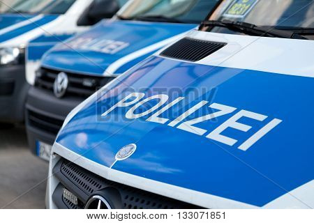 BERLIN / GERMANY - JUNE 4 2016: german police cars stands on airport Schoenefeld / Berlin Germany on june 4 2016.
